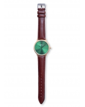 Palm Gold / Green Bracelet Cuir Dark Brown